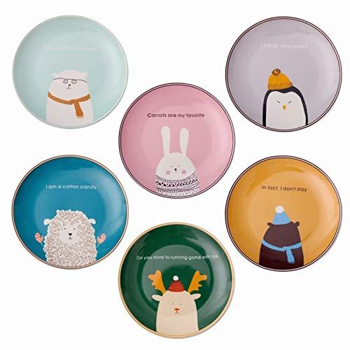 H/A Bandeja de vajilla de cerámica de dibujos animados nórdicos para niños, bandeja para comer, cacerola para pasta Western Found SADSDM (color: azul claro oso blanco, tamaño: plato)