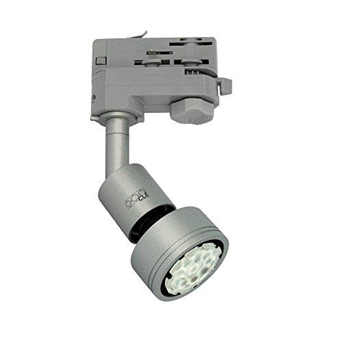 CLE PURI LED GU10 alugrau 3 Ph. Stromschienstrahler f. Erco Staff Lival Eutrac Global Schiene max. 50W
