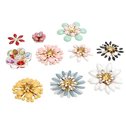 EXCEART 10pcs Rhinestone Flower Buttons Embellishments Buttons Enamel Flat Back Charm Table Scatter for Jewelry Making Wedding DIY Craft Hair Clothes Bag Hat