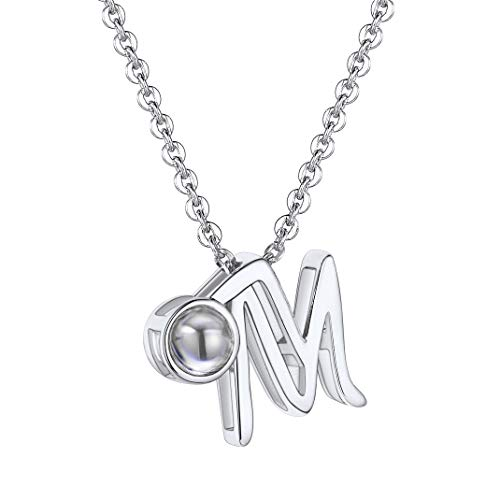 GoldChic Jewelry Initial I Love You In 100 Lauguages Necklace, 18K Gold Plated/Platinum Plated A-Z Letter Nano Choker For Women