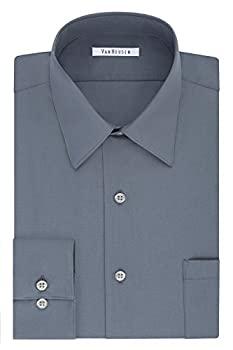VAN HEUSEN Men s Size FIT Dress Shirts Poplin  Big and Tall  Grey 22  Neck 37 -38  Sleeve  5X-Large