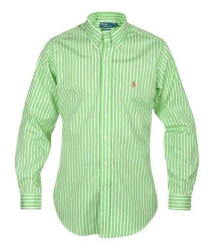 Ralph Lauren Tiempo Libre de Rayas Camisa de Hombre de Camisa Verde y Blanco