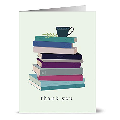 Thank You Cards – 24 Pack – Book Stack Thank You – Unique Design – GRAY ENVELOPES INCLUDED –Appreciation Greeting Card – Glossy Cover Blank Inside – By Note Card Café