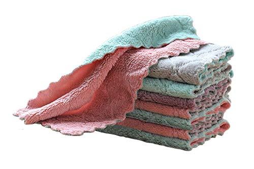 Maishijie Paquete de 8 paños de limpieza, paños de cocina de doble cara, toallas de platos reutilizables, toallas de limpieza para cocina