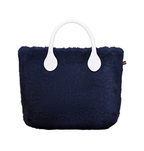 O Bag Cover in Ecopelliccia Lapin (Blu)