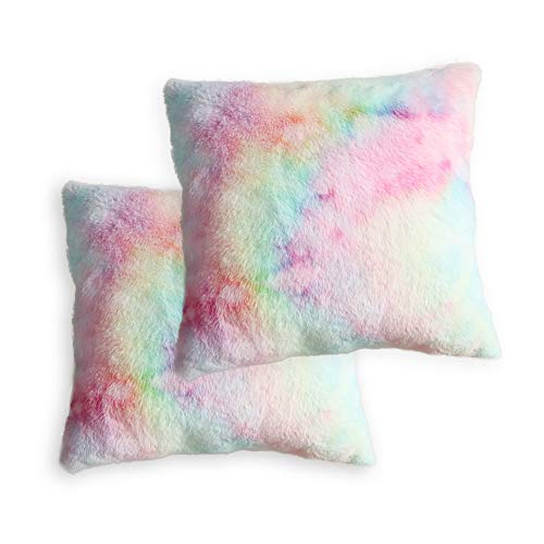Muchique Pack of 2, Soft Faux Fur Decorative Square Throw Pillow Covers 20 x 20- Cushion Cases Pillowcases for Sofa, Bedroom, Car, Square 20 Inches