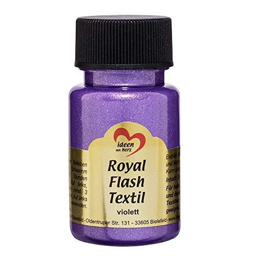 Royal Flash Textil - Colore metallizzato glitterato, 50 ml, altamente coprente, cremoso, per tessuti chiari e scuri, a base d'acqua, per dipingere e valorizzare magliette, borse, tessuti Violett
