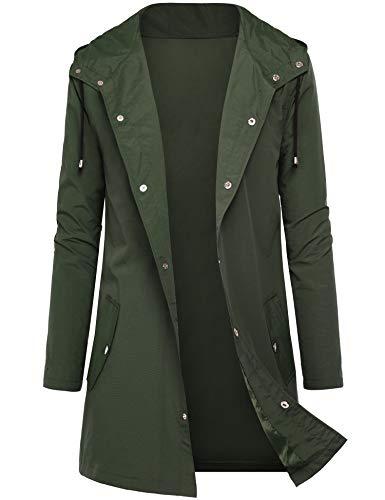 DOSWODE Men Waterproof Raincoat Hooded Windbreaker Lightweight Long Rain Jacket Active Outdoor Trench Green_L