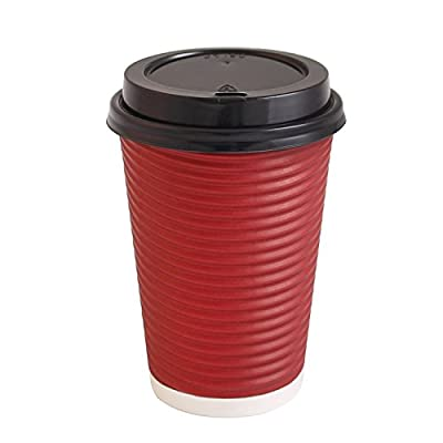 Party Bargains Best Disposable Togo Coffee Cups with Lids   Premium Hot Paper Cup Rippled Insulation For Heat Protection Perfect for Hot Chocolate, Tea, Espresso Or Any Beverage - 16 oz   Pack of 50