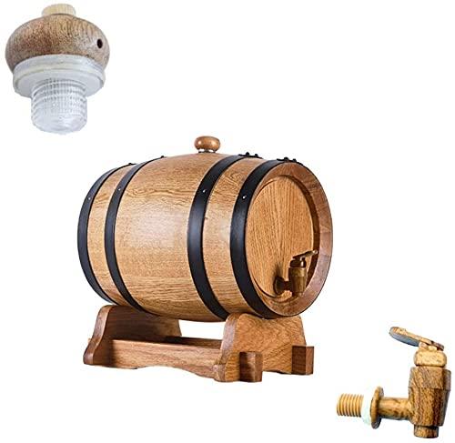 WSVULLD Agua Refrigerador Dispensador Premium Oak Barril Envejecimiento, Sin forro Roble Barril Barril Bebida Bebida Splitter para almacenamiento o envejecimiento Vino espíritu Barriles de vino (Color