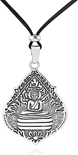 banbeitaotao 1 Colgante Grande de Amuleto de Buda Tallado, Collar de Cuero de Alto Brillo de Terciopelo de Gamuza Larga, joyería, decoración, joyería