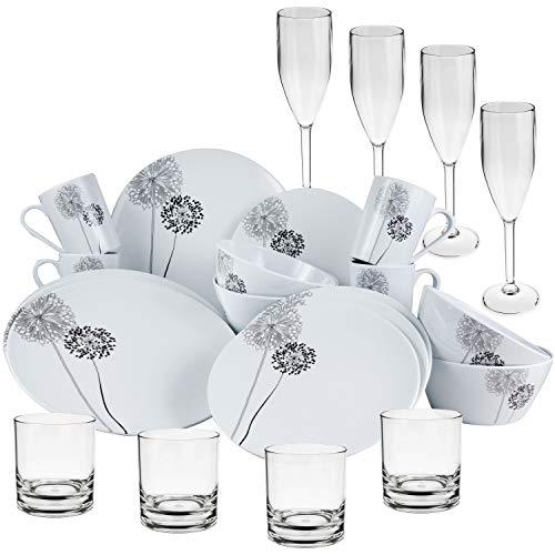 Melamin Geschirr Set 24 Teile mit klaren Gläsern Acryl Trinkglas Sektglas Weiß Schwarz für 4 Personen - Essgeschirr Polyacryl Gläser Wasserglas Whiskey Campinggeschirr Picknick Camping modern Outdoor