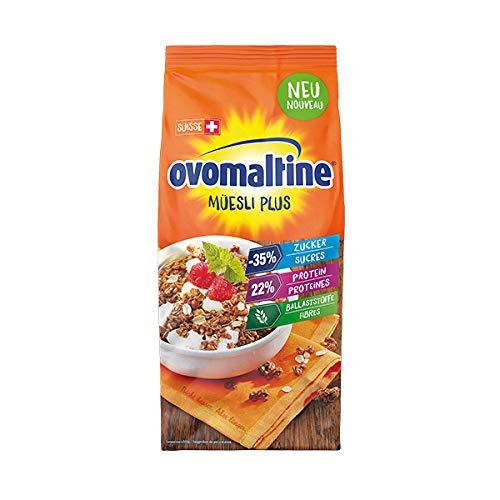 Ovomaltine Crunchy Protein Müsli Plus - Knusper-Müsli mit Haferflocken - Cerealienmischung mit 22 Prozent Protein, ein Drittel weniger Zucker und unvergleichlichem Crunch, 1 x 300 g