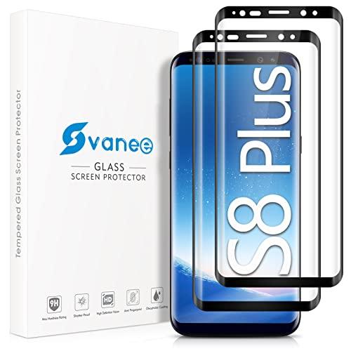 Ecenone - Protector de pantalla de cristal templado para Samsung Galaxy S8 Plus / S8+, 2 unidades, dureza 9H, resistente a los arañazos, cobertura completa, 3D, curvado