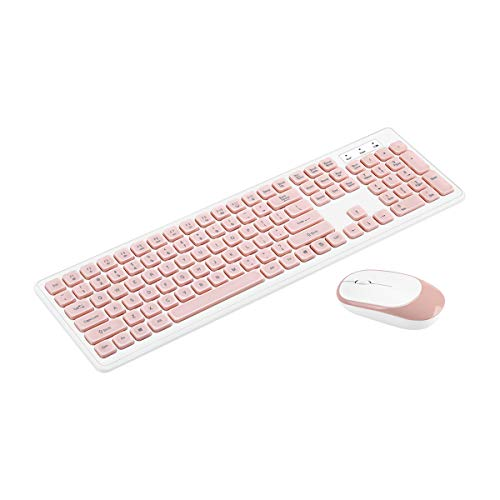 Y-hm Sensación cómoda Conjunto de Teclado y Mouse inalámbrico de 2.4GHz 104 Teclas Teclado de Radio 1200DPI Ratón Ratón con Receptor USB Diseño portátil (Color : Pink)