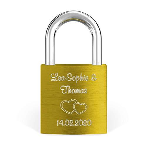 LIEBESSCHLOSS-FACTORY Liebes-Schloss Gold mit Gravur und Schlüssel, gratis Geschenkbox uvm. Jetzt graviertes Vorhängeschloss gestalten!