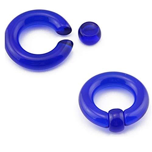 Homeilteds 1 Par Grande De Acrílico De Oído del Anillo Gigante Túnel del Enchufe Macho del Ampliador del Anillo De Nariz Piercing Plugs (Main Stone Color : 6mm(2g), Metal Color : Dark Blue)