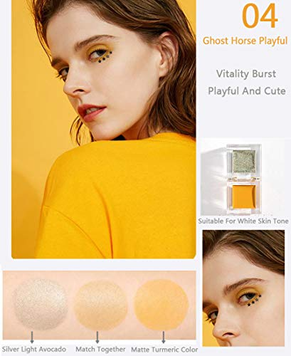 Ensemble de combinaison Ensemble de combinaison surligneur mini blush, outil de combinaison pour surligneur blush pour femmes,peut cacher les pores,la forme de la glace est facile transporter,Jaune