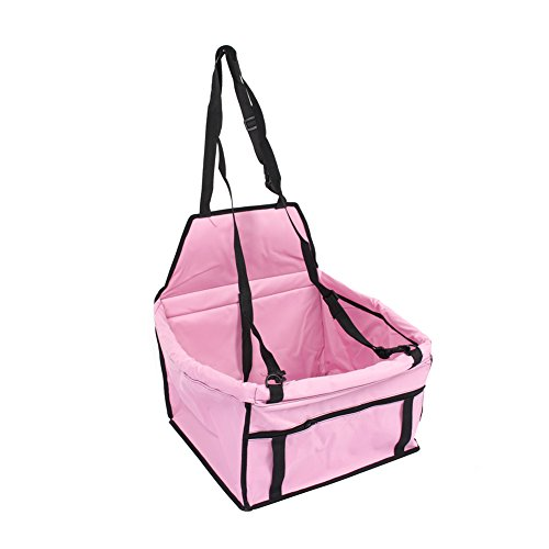 lahomie huisdier hond draagtas, opvouwbare waterdichte huisdier hond kat auto stoel draagbare reizen auto vervoerder tas tas reizen vervoerder handtas roze