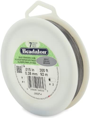 "Beadalon 7-Strand 0.015"" (0.38 mm) 300 ft (91.4 m) Bright Bead Stringing Wire"