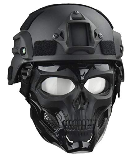 JFFCESTORE Skull Full Mask with Goggles and Fast Tactical Helmet/MICH 2000 Style ACH Helmet Combined for Airsoft Paintball CS Game (Mich +Mask)