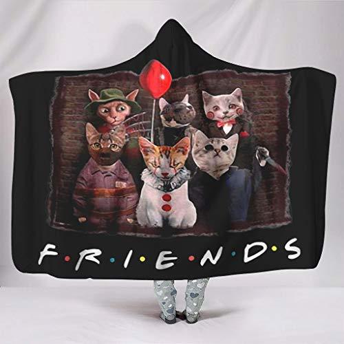 Fineiwillgo Halloween terrorífico personaje gato amigos TV sudadera sudadera sudadera con capucha super suave sudadera con capucha sudadera para niñas sofá fiesta blanco 130 x 150 cm