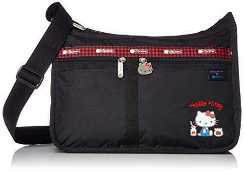 LeSportsac Hello Kitty Favorites Exclusive Deluxe Everyday Crossbody Bag + Cosmetic Bag, Style 7507/Color G653, Red Embroidered Hello Kitty Lettering & Hello Kitty Design Zipper Pull