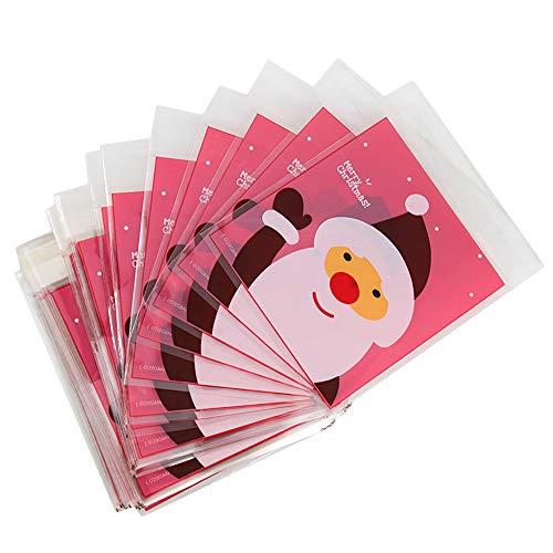 kungfu Mall 100PCS Autoadesivi di Natale Babbo Natale Biscotti Sacchetti di Caramelle Sacchetto Regalo in cellophane per Pacchetto Regalo di Nozze per la Festa di Natale