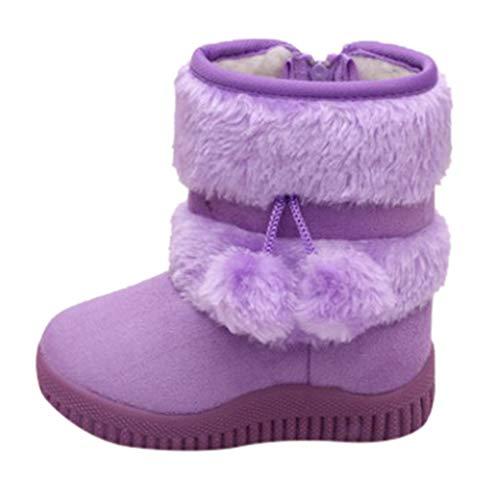 Alwayswin Kinder Jungen Mädchen Winterstiefel Outdoor Warme Schuhe Stiefel Kleinkind Babyschuhe Solide Bequeme Schneestiefel Reißverschluss Warme Stiefeletten Baumwolle Kurze Stiefel