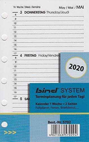 BIND B570220 - Kalendereinlage für Wochenkalender A7 - Jahr 2020, 1 Woche / 2 Seiten, Terminkalender mit System
