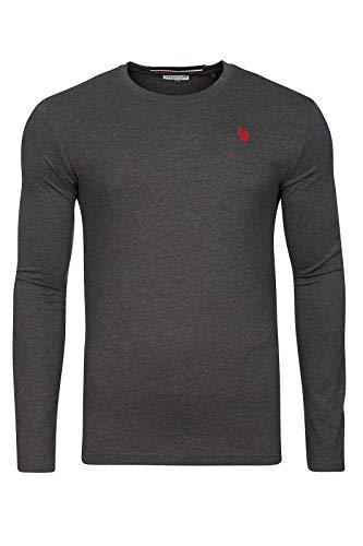 U.S. POLO ASSN. Shirt Sweatshirt Herren Langarmshirt Longsleeve Grau 168 42963 51884 189, Größenauswahl:XXL
