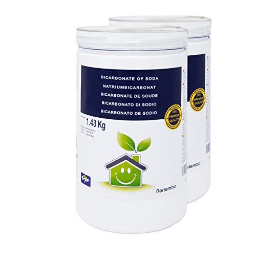 NortemBio Bicarbonate de Soude 2x1,43 Kg, Intrant de la Production Biologique, sans Aluminium, Qualité Supérieure, 100% Naturel. Développé en France.