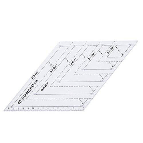 Régua quadrada para quilting da Yardwe, régua de diamante de 45 graus, régua de patchwork, acessórios de costura de modelo acrílico