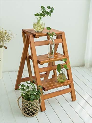 GHFHF Escalera plegable para el hogar, silla plegable multifuncional de 2 pasos con doble uso, escalera de 3 escalones escaleras para el hogar al aire libre (color: nogal, tamaño: tres pisos)