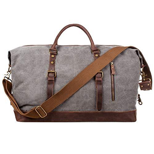 S-ZONE Reisetasche Größere Version Vintage Canvas Leder Trim Unisex Handgepäck Weekender Tadche Sporttasche für Reise Wochenende Urlaub (Hellgrau)