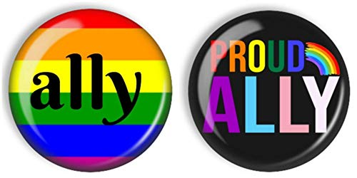 Gay Pride Ally Pin Back Buttons Set of 2, 2-1/4' Rainbow Lesbian LGBT