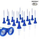Crestgolf 2 1/8 Zoll (54 mm) Durable Blau Gummikissen Top Golfausrüstung Kunststoff Golf Tee, Packung mit 50 Stück