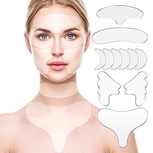 Anti-Falten-Pads Silikon , 11 Stück Adsshopp Resuable Pad gegen Stirnfalten für trockene Haut der Brust