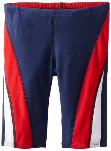 Speedo Men's Swimsuit Jammer Endurance+ Splice Team Colors,Navy/Red/White Splice,30
