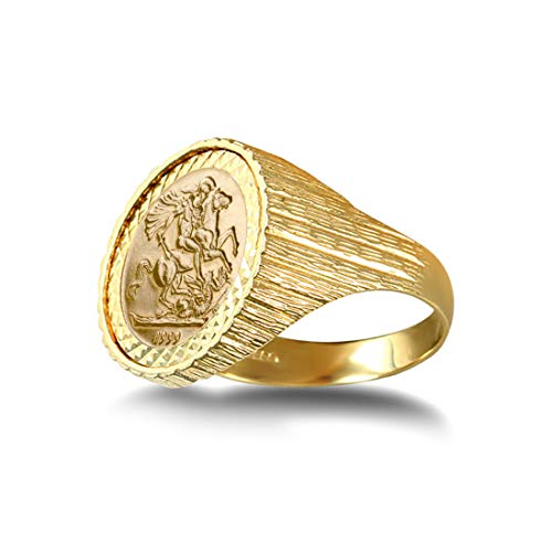 Jewelco Europa Anillo con medallón de San Jorge y Dragón acanalado de oro macizo de 9 quilates para hombre (talla 10 Kruger)