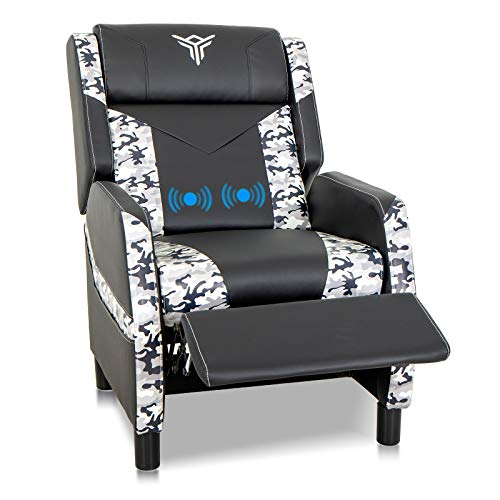 ELECWISH Massage Gaming Recliner Chair Single Ergonomic Lounge Sofa with Footrest Racing Style Modern PU Leather Reclining Home Theater Seat for Living & Gaming Room (Camouflage White)