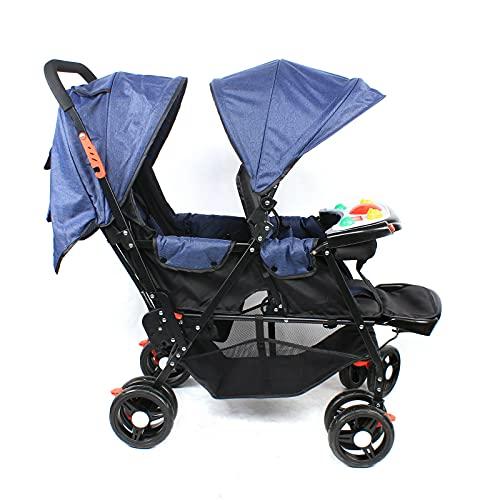 Cochecito plegable (incluye música), cochecito gemelar de acero y tejido Oxford, para bebés a partir de 6 meses hasta 66 libras (103 x 60 x 92 cm), color azul