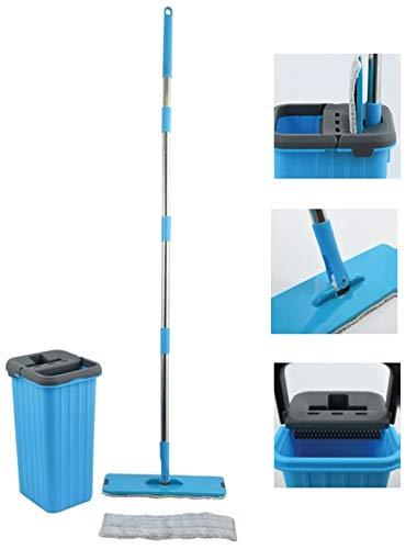 MSV Touchless Mop Selbstreinigungssystem Wischmopp ✓ inkl. Eimer 4 Liter ✓ Reinigung für alle Arten von Böden ✓ Fliesen ✓ Parkett ✓ Linoleum ✓ Laminat | Ersatzmop
