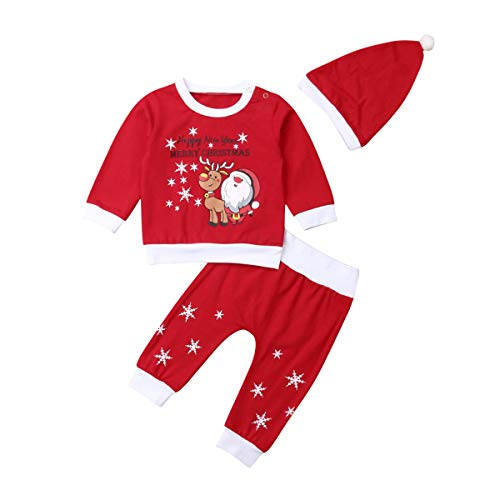 Hnyenmcko Baby Jongen Meisje Eerste Kerst Pant Set Kerstman Print Top Shirt Broek Outfit Kerstmis Kleding 0-18M
