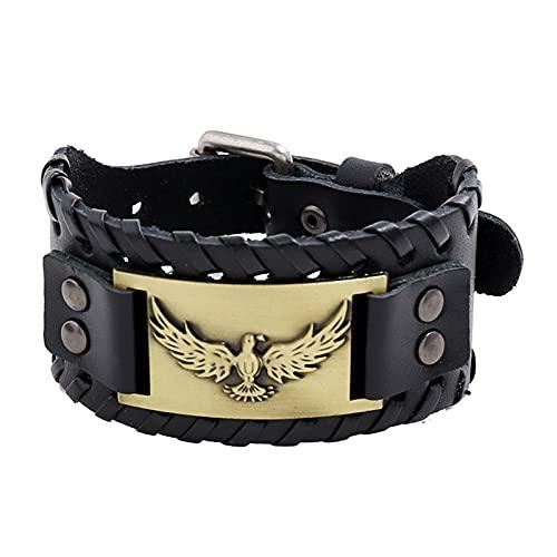 SYF@QYY Pulsera Cuero Tótem Águila Vikinga Nórdica, Pulsera Ancha Cuerda Trenzada Vintage para Hombre Joyería Amuleto Animales,Latón