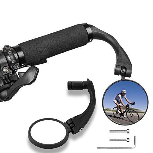 WeyTy Fahrradspiegel, 360° Drehbar Fahrrad Rückspiegel Konvexen Reflektor Spiegel/Weitwinkel Spiegel für 17.4-22mm Flacher Lenker, Safe Rearview Mirror SPY Space für Mountainbike RennräderE Bike