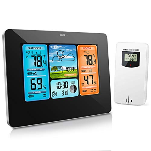 HALOFUN Weather Station, FJ3373 Wireless Indoor Outdoor Thermometer Digital Hygrometer with Sensor, Color Large Display Screen with Alarm Clock, Moon Phase & Weather Forecast
