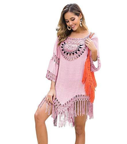 Faldas de Playa holgadas para Mujeres, Fundas de Bikini holgadas, Trajes de baño, Tops de Playa de Estilo vacacional con Flecos Sueltos y Paneles Redondos Grandes(Pink)