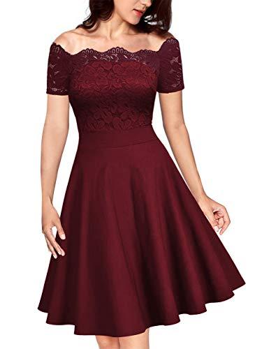 KOJOOIN Damen Vintage Kleider Spitzenkleid Cocktailkleid Brautjungfernkleider für Hochzeit Kurze Abendkleider Weinrot XXL