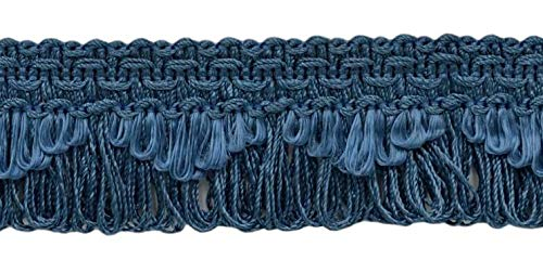 Decorative French Blue Scalloped Loop Fringe / Braid, 35mm, 21.9 Meter Package, Style# 9115 Color: M45 (I14) (72 Ft / 24 Yards)